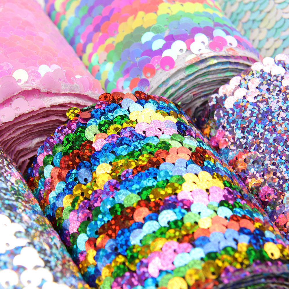 Cheer bows 75mm Sequin Grosgrain Ribbon Laser Double Face