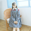 England Preppy styles dresses for women Royal Japanese HARAJUKU windy young mori girl red bow blue plaid vintage one piece dress