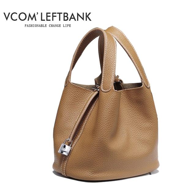 bff95ff5f57d 2018 contrast color genuine leather bag bucket bag women handbag leather  brand designer Picotin Lock shoulder bag tote bag small