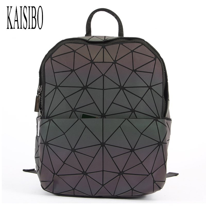 KAISIBO Geometric Diamond Lattice Backpack Luminous Travel Men Women Backpacks PVC Laser ...