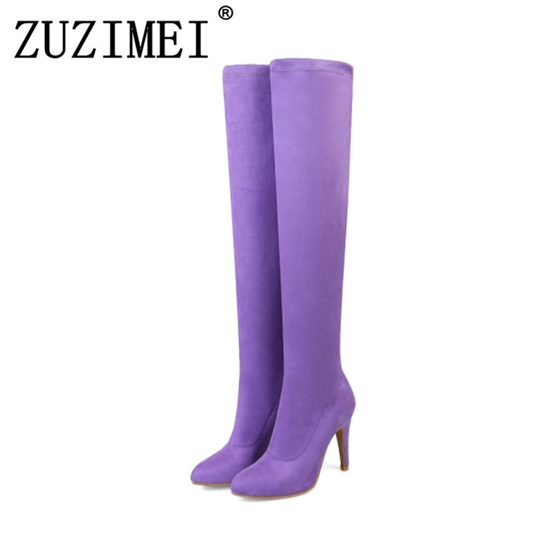 Spring autumn Women Boots Over The Knee Plus Size 34-43 High Spike Heels Female Pumps Fashion Woman Shoes Black Gray Red Pink plus size 34 43 winter autumn women soft leather knot low heels lovely knee high boots 3colors pink ladies fashion female shoes