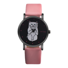 цены OKTIME Funny Cute Kids Cat Fashion Watch Women New middle finger cat Wristwatch Hour Lady Child Girl Causal Quartz Hot Sale