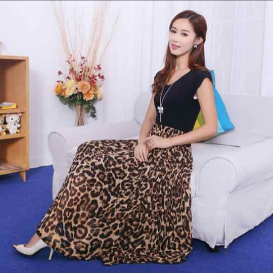 2018 Vintage Women's Summer Beach Leopard Casual Chiffon Max Skirt Pleated Long Skirt RQ148