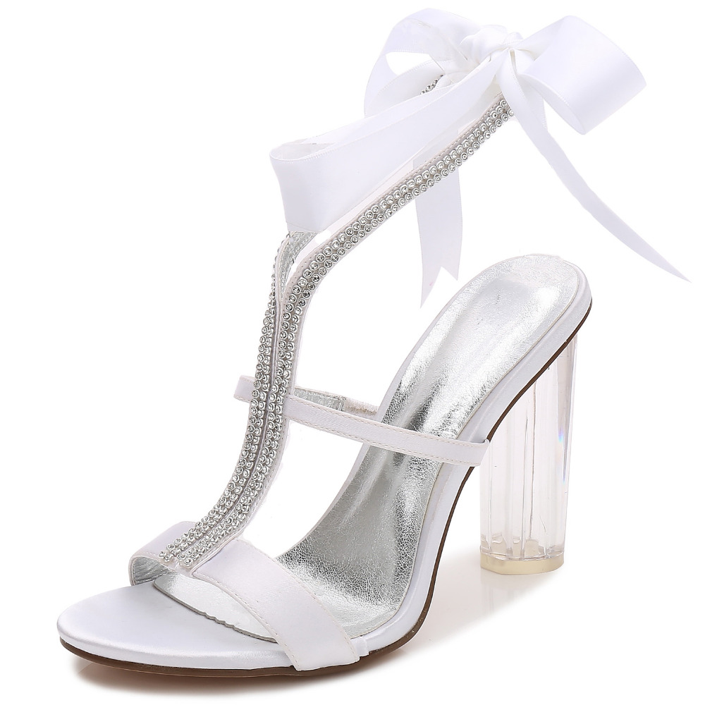 Sweet clear high block heels lady satin dress sandals rhinestone crystal  ribbon tie ankle strap sexy eaf621bd57a9