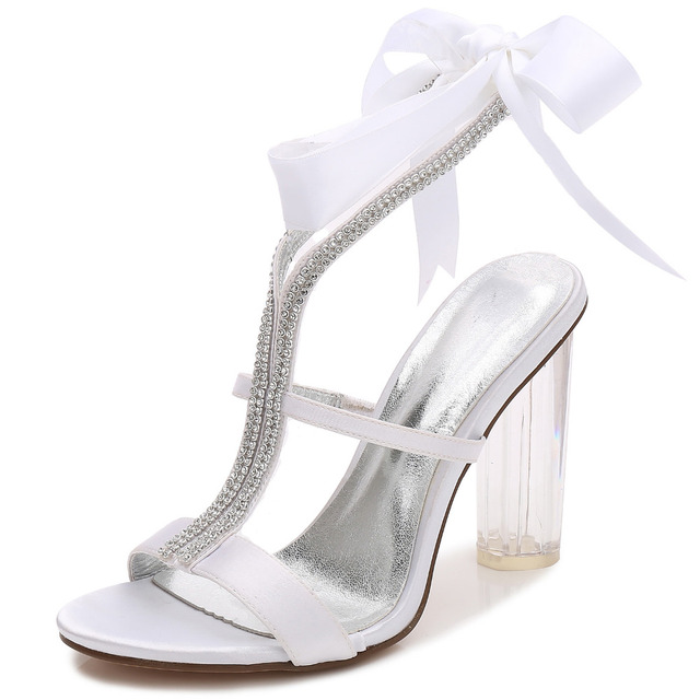 Sweet clear high block heels lady satin dress sandals rhinestone crystal  ribbon tie ankle strap sexy woman party show shoes 10cm 30414d14b812