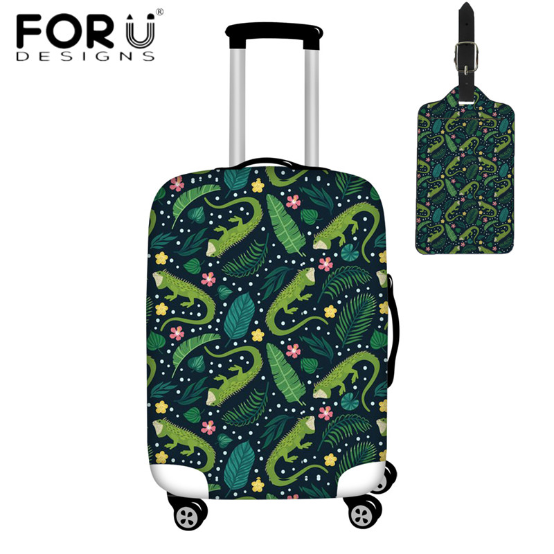 FORUDESIGNS Iguana Party Design Travel Luggage Cover Fashion Women Men Suitcase Protective Covers Waterproof Trolley Case Cover