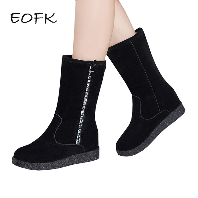 70a02995024 US $22.9 40% OFF|EOFK Winter Women Snow Boots With Fur Boots Woman Suede  Mid Calf Flat Black Boots Casual Warm Ugly Boots-in Mid-Calf Boots from  Shoes ...