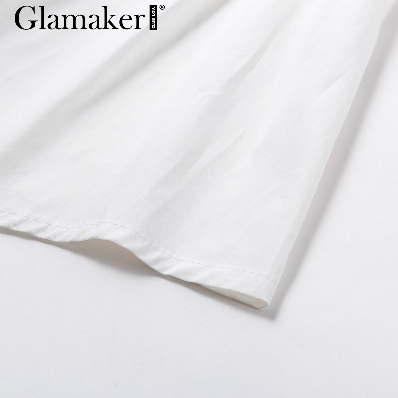 Glamaker Batwing sleeve white mini dress Women office lady pleated blouse shirt dress Autumn high waist slim elegant short dress 8