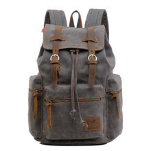 SOAEON Travel Shoulder Backpack Outdoor Retro Oil Wax Waterproof Canvas Bag Computer Schoolbag Man laptop backpack bookbag(China)