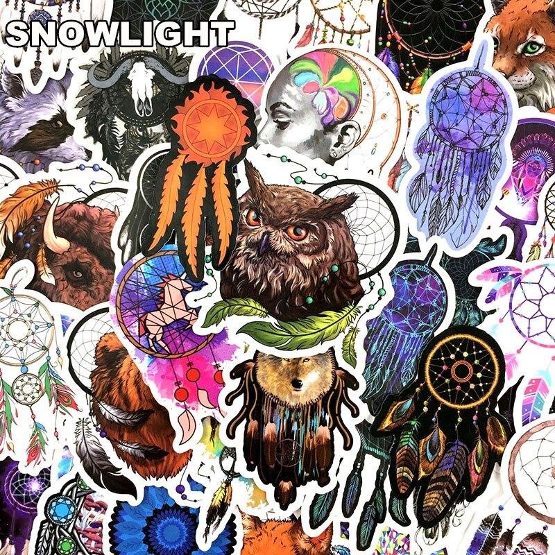 57PCS/set Colorful Dreamcatcher Totem Sticker For Suitcase Box Car Fridge Motorcycle Laptop Skateboard Waterproof Sticker