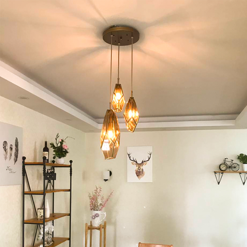 American Living Room hanging lamp Retro Copper Balcony Bedroom Lights Corridor Aisle Entrance Bar Restaurant Glass Pendant Lamps цена