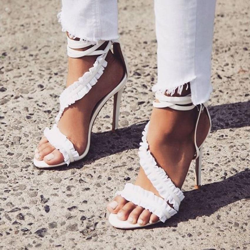 Alto Del Talón White Inclinado Sandalias Cruz Atado 2018 Vestido De Zapatos Gladiador Aiykazysdl Correa Estilete Mujeres Blanco Plisado SwZxWq6O