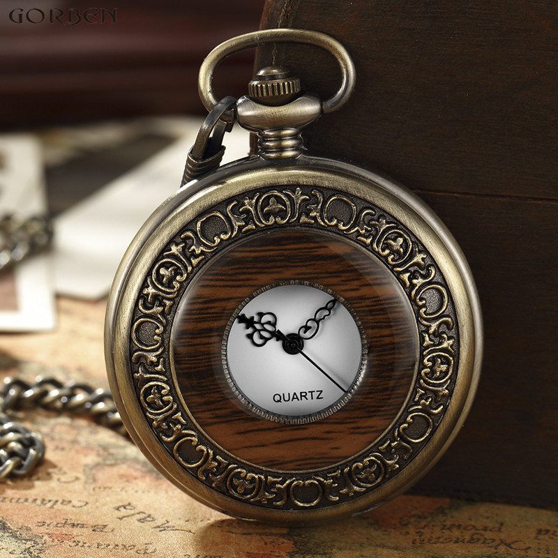Wooden Men Pocket Watches Antique Retro Vintage Pocket Quart Watch FOB Chain Bronze Steampunk Men Watch New Arrivals Mens Clock otoky montre pocket watch women vintage retro quartz watch men fashion chain necklace pendant fob watches reloj 20 gift 1pc