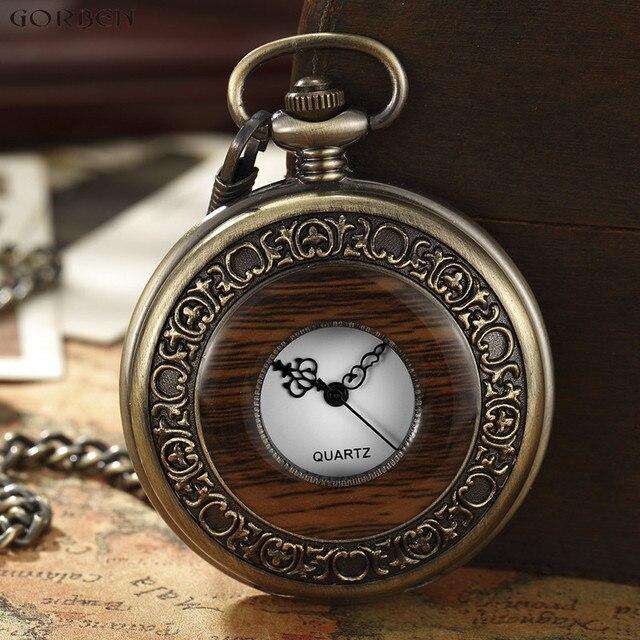 94918409d Wooden Men Pocket Watches Antique Retro Vintage Pocket Quart Watch FOB  Chain Bronze Steampunk Men Watch New Arrivals Mens Clock