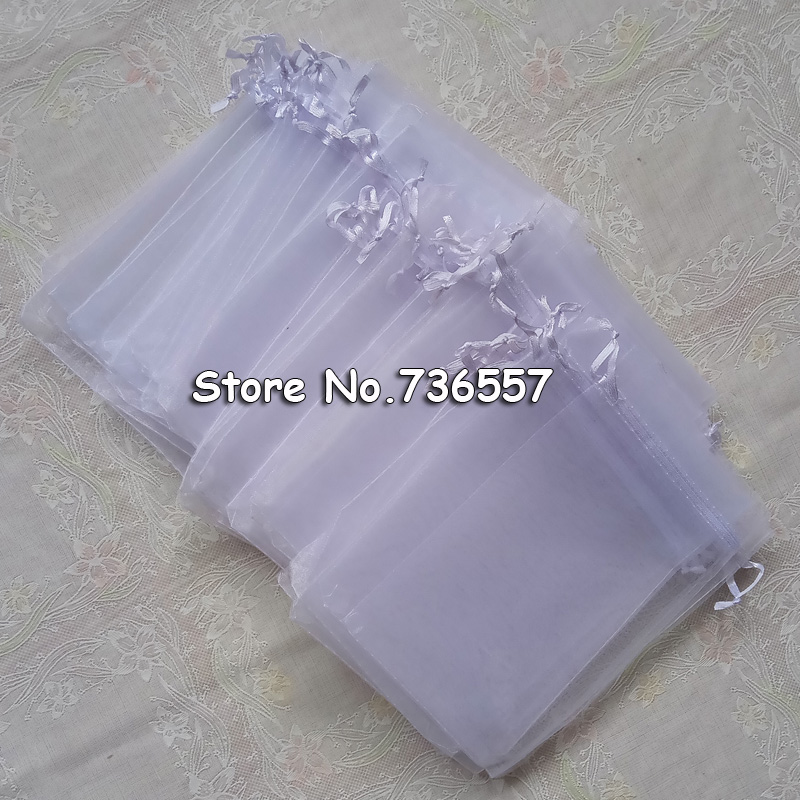 30x40cm White Organza Evenlope Jewelry Bags Pouches Tulle Bomboniera Printed Logo Custom Jewelry Bags 100pcs/lot Wholesale