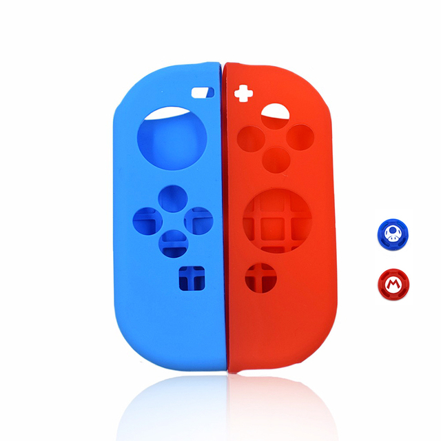 Dustproof Soft Silicone Protective Case Skin Cover for Nintend Switch NS Joy-Con Case&2 Analog Thumbstick Grips Joystick Caps 1