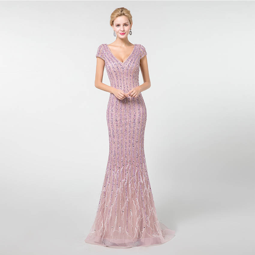 YQLNNE 2019 Light Purple Long   Prom     Dresses   V-neck Beading Feathers Mermaid Evening Gown Zipper Back YQLNNE