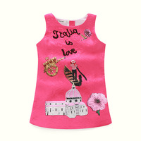 Milan Creations Princess Dress Girl Costume 2016 Brand Baby Girls Dress Children Clothing Character Letter Print