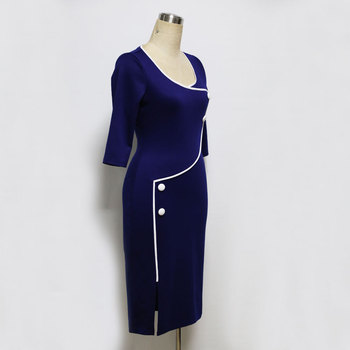 Elegant Women Vintage Office Work Dress Casual 3/4 Sleeve Business Bodycon Female Pencil Plus Size Womens Dresses Vestidos 2018 2