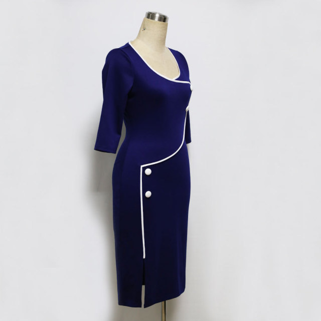 Vintage O-Neck Bodycon Pencil Dress