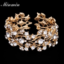 Minmin Wholesale Gold Plated Big Bangles with Crystals African Beads Jewelry Fashion Bracelets for Women MSL205-gold