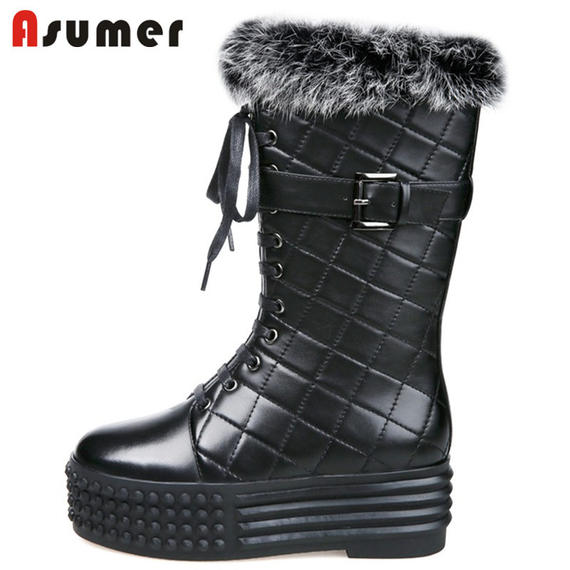 ASUMER NEW 2018 fashion round toe mid calf snow boots women fur+genuine leather boots zipper flat with platform winter boots beango fashions snow boots women s winter fur rubber genuine leather lace up flats round toe mid calf new comfort warm boots
