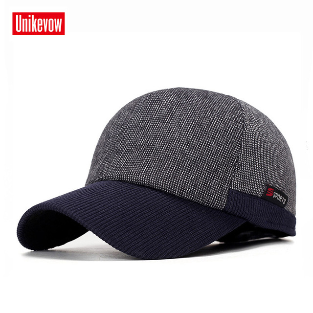 62961814081e UNIKEVOW New arrivel Winter baseball caps with ears motorcycle cap Casual  winter hat warm caps with corduroy visor for men