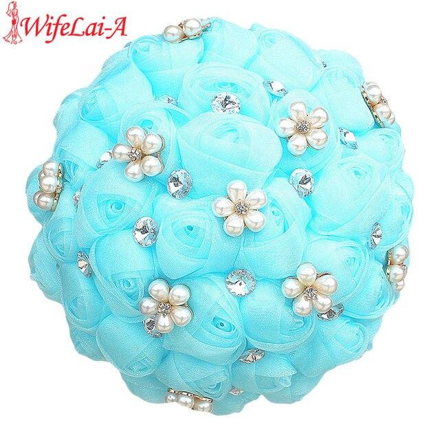WifeLai-A Light Blue Chiffon Rose Flower Wedding Bridal Bouquet Diamond Pearl Crystal Brooch Bouquet Decoration Flowers W3001