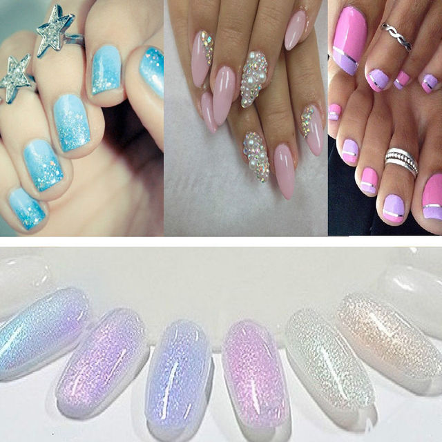 2016 New Mermaid Effect Nail Glitter Polish Sparkly Magic Glimmer Powder Dust DIY Nail Art Tip Decoration Tools Gel UV Nails Art