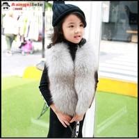 Children's Real Fox Fur Vest Baby Kids Autumn Winter Thick Warm Short Natural Fur Outerwear Vest Solid Short Solid Vests V#10