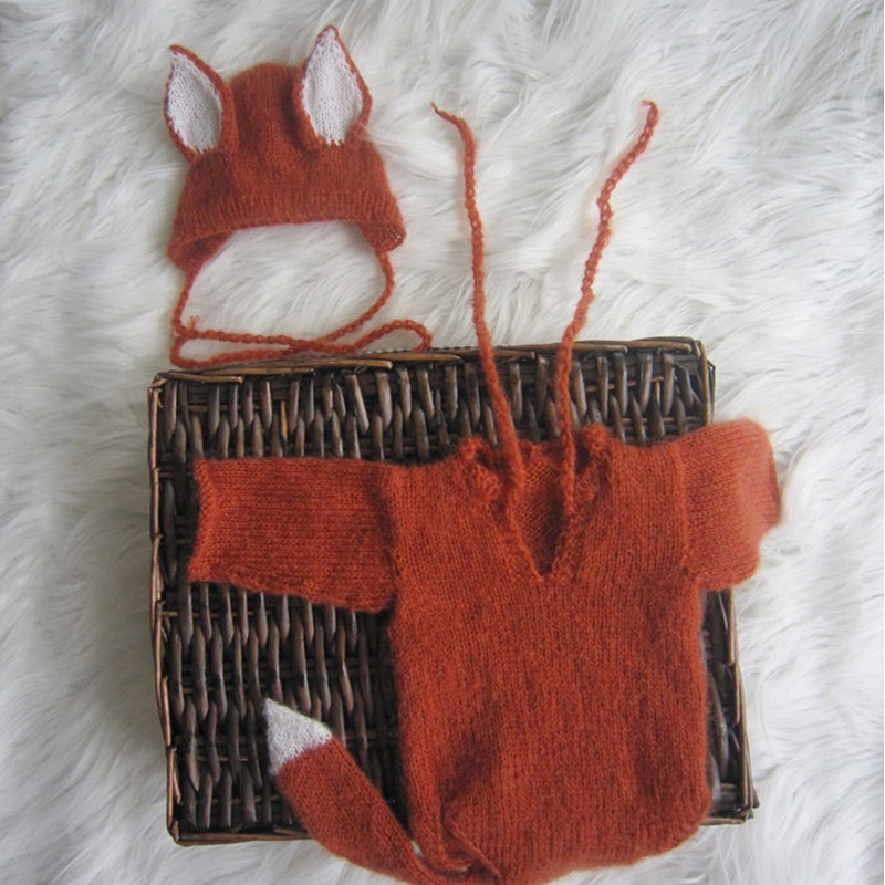 Newborn Mohair Long Tail Fox Hat With Romper Set Overalls Clothing Sets Photo Props Newborn Animal Bonnet Photography Props 2017 newborn hand knitting mohair bonnet angola baby photography props mar30 17
