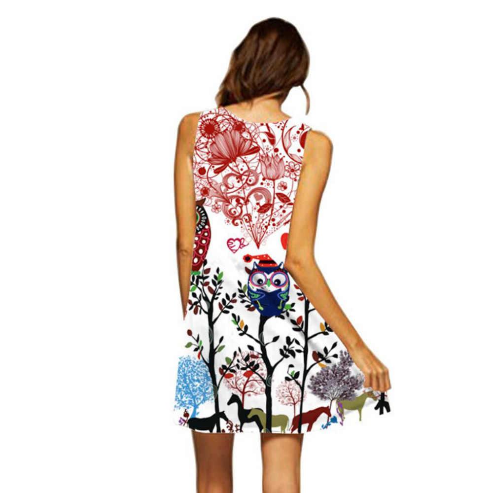 2019 ドレスの女性のファッションノースリーブ女性ギフトプリントドレスエレガントな夏の女性のカジュアル高品質ローブフェムセクシーホット販売 DD5