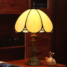 Led lamps European minimalist retro led desk lamp yellow Tiffany color glass restaurant bedroom bar hotel bedside table lamp