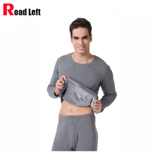 Mens Autumn/Winter Warm Clothes Gray/Navy Blue Size L-3XL Men Celvet Thicken Thermal Underwear Set Top+Long Johns Leggings