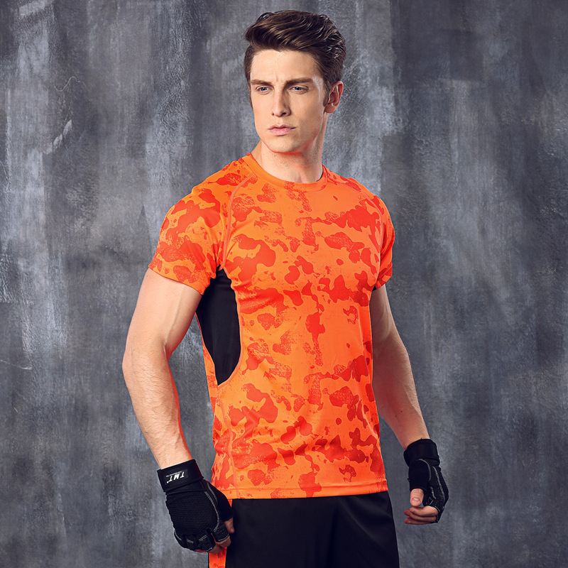Men breathable tight sports top running fitness gym soft for Sweat free t shirts
