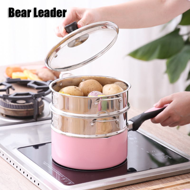 Bear Leader 16CM 18CM 20CM 304 Stainless Steel Thickening Double Ear Steamer Multi-layer Steamer Kitchen Tools