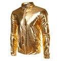 Los Hombres de la chaqueta Veste Homme Night Club Fashion Oro Metálico Frontal Con Cremallera de Los Hombres Chaqueta de Bombardero Ligero Jack Hip Hop Tops