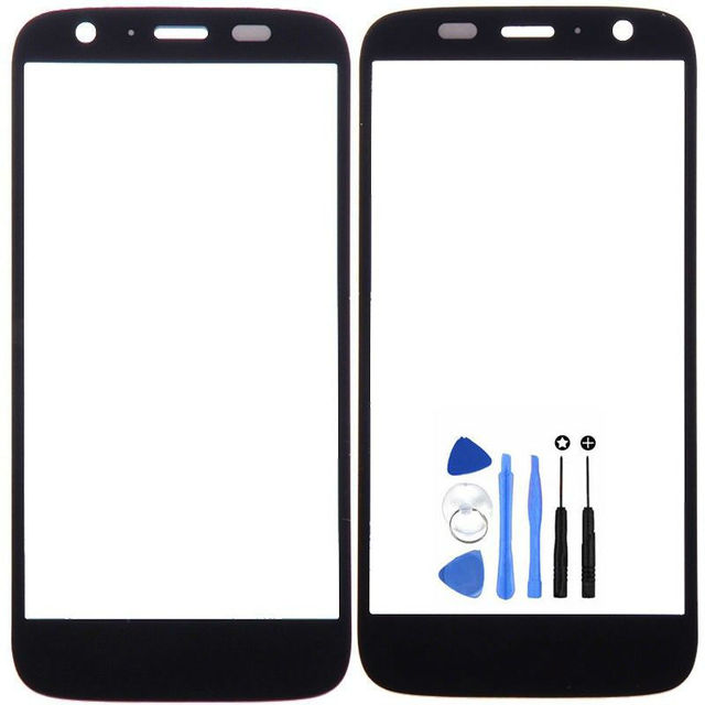 Vannego Free Shipping Black For Motorola Moto G XT1032 XT1033 Front Panel Screen Outer Glass Lens with Tools