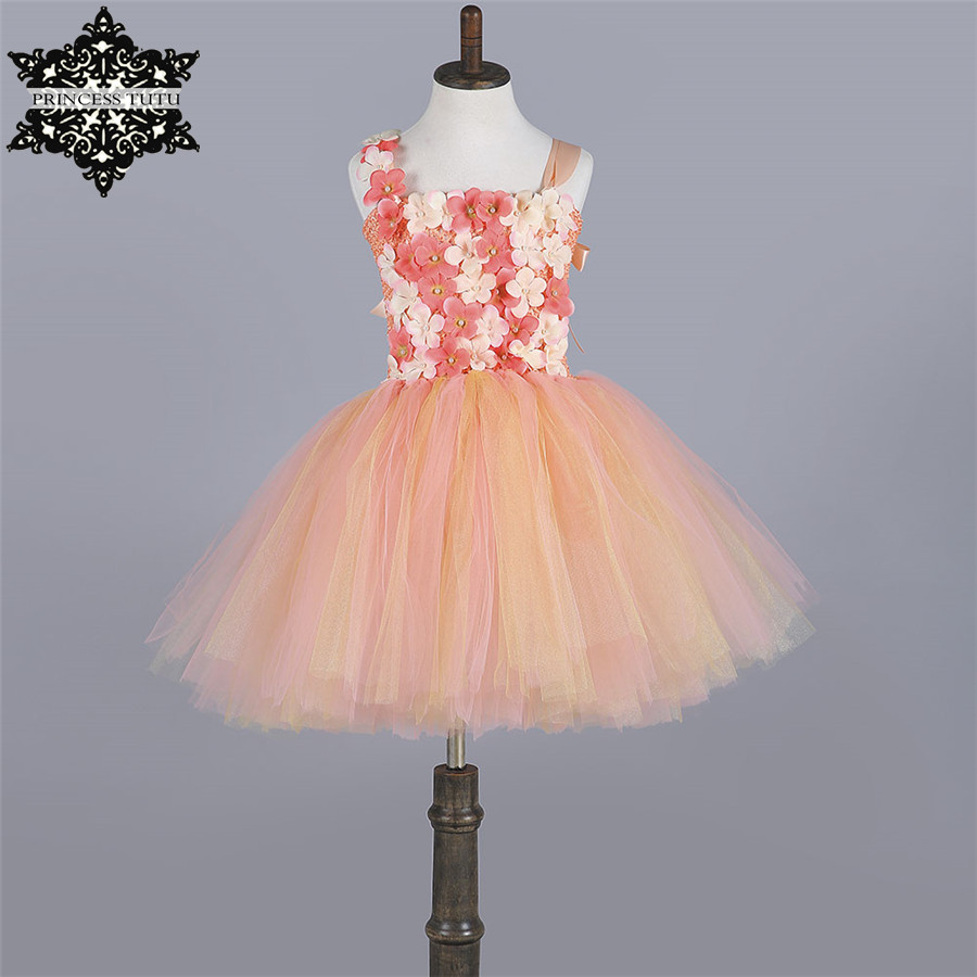 Princess Tutu Peach Gold Girls Dress Tulle Children Pageant Ball Gown Cute Baby Girl Party Birthday Wedding Flower Girl Dresses ball gown sky blue open back with long train ruffles tiered crystals flower girl dress party birthday evening party pageant gown