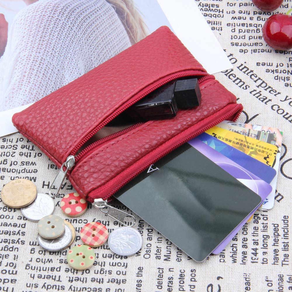 Carteras de mujer 2019 nuevo titular de la tarjeta de crédito PU de cuero de Metal tarjetero bolsa de dinero Clip de dinero Mini cartera Sacoche Femme #