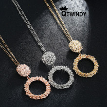 QTWINDY Necklace Women 2019 Metal Geometric Chains Necklace Fashion Gold/Silver/Rose Gold Long collier boho jewelry Party Gift