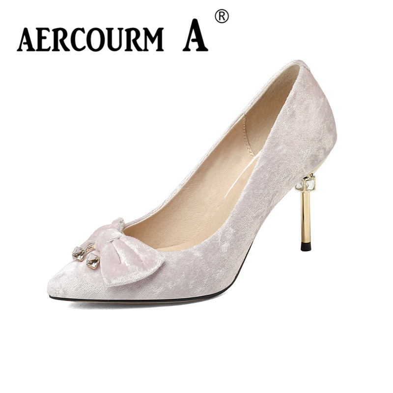 Aercourm A 2017 HOT Women Shoes Lady High Heel Bow Shoes Solid Pink Black Pointed Toe Sexy Wedding Velvet Shoes 8CM Thin heels retail vintage lady women black wool felt pillbox fascinator party wedding hat with bow veil wine camel black