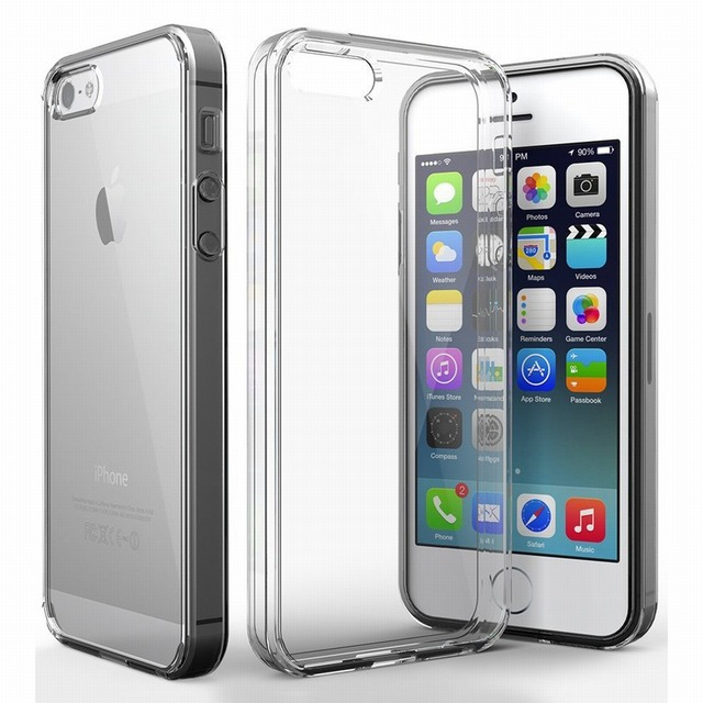 newest d44b9 69a42 US $1.99 |Portefeuille For iPhone SE Case Protection Crystal Clear Hybrid  Hard Back Cover Case for Apple iPhone SE 5S 5 S iPhonese Capinha-in Phone  ...