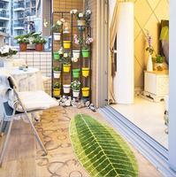 New Leaf Shape Green Microfiber Carpet Absorbent Anti Slip Rug Vacuum Pad Kitchen Mat Door Bathroom
