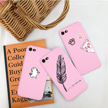 Pink Cute Cat Phone Case For iPhone X XR XS MAX Cases For iphone 8 7 6 Plus 5 SE Yellow Feather Pen Soft Silicone Back Cover cute silicone stand audio amplifier for iphone 5 pink