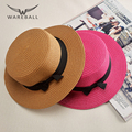 2016 Nuevo sombrero de Paja de Verano Para Hombres Mujeres Flat Top Navegante Marinero Sombrero Trilby Cap Unisex al por mayor