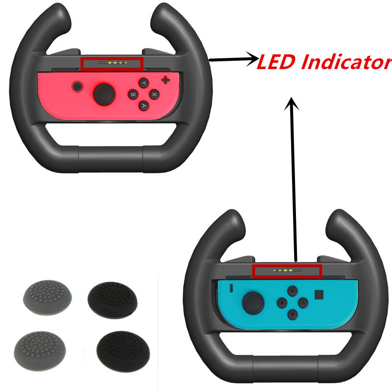 2pcs Upgrated LED Indicator Joy-con Steering Racing Wheel Handle Grip for Nintend Switch NS Nintendo Controller + 4pcs caps