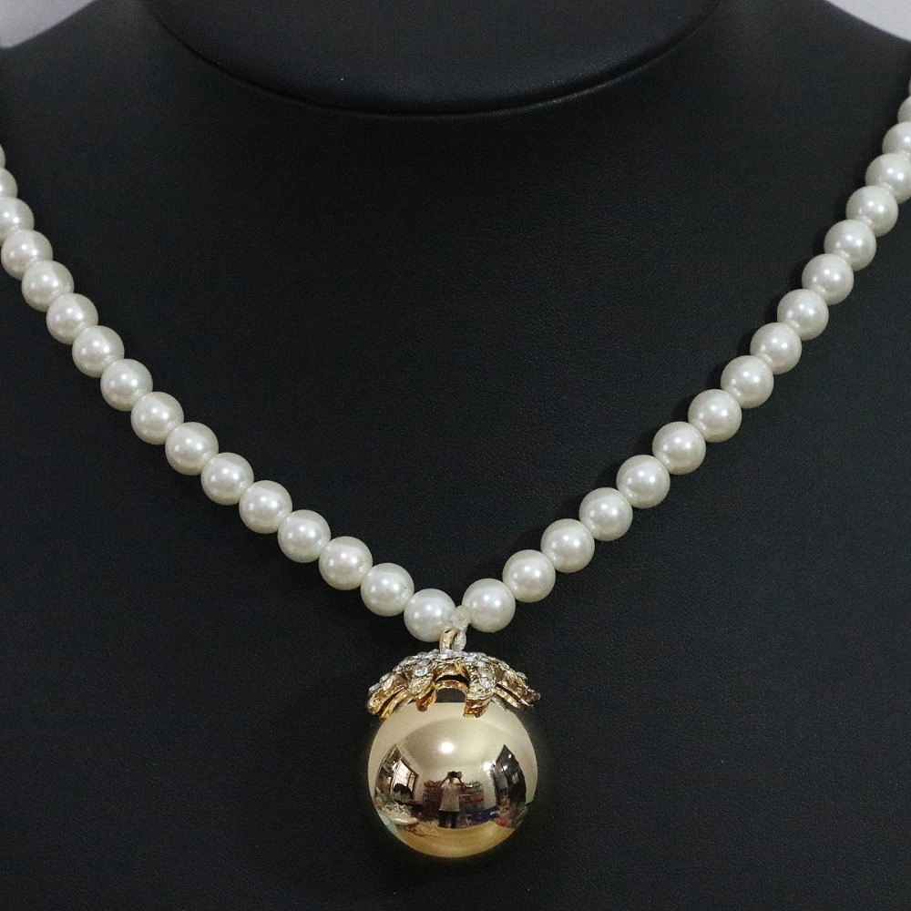 Trendy 30mm round ball pendant necklace 8mm white shell simulated-pearl beads sweater clothes original design jewelry B1425