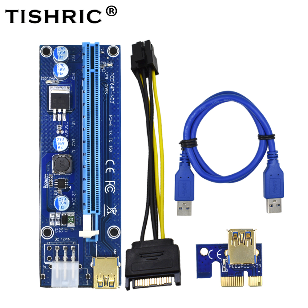 TISHRIC 10pcs 2018 Golden VER009S PCI Express PCIE PCI-E Riser Card 009s Molex 6Pin to SATA 1X 16X USB3.0 Adapter LED Mining