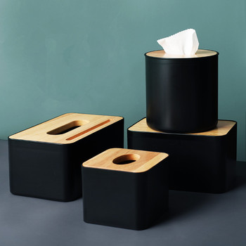 Modern Black Color Tissue Containers with Phone Holder Wood Cover Seat Tyle Roll Paper Tissue Canister Cotton Pads Storage Box
